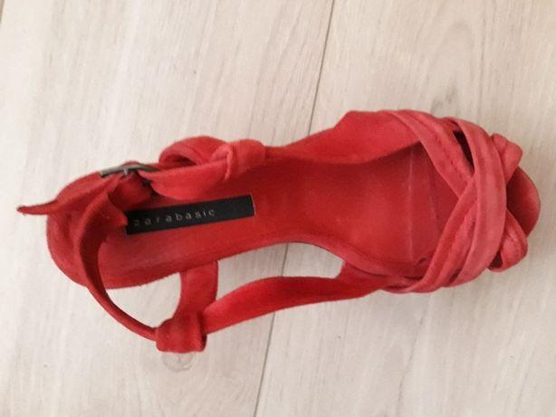 Zara Koturny sandały zamszowe czerwone 38