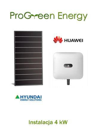 Fotowoltaika 4kW, montaż, Hyundai 400Wp + Huawei, Łódzkie panele