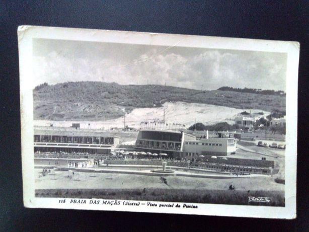 Postal antigo Praia das Maças (Sintra) 1957 da coleção Passaporte