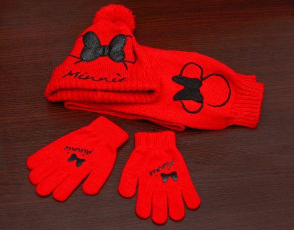 Zestaw zimowy dla dziewczynki czpaka szalik rękawiczki