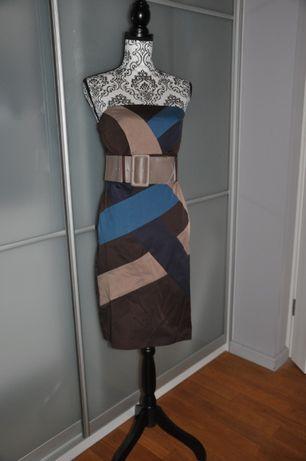 Sukienka z oryginalnym wzorem brązowa 38