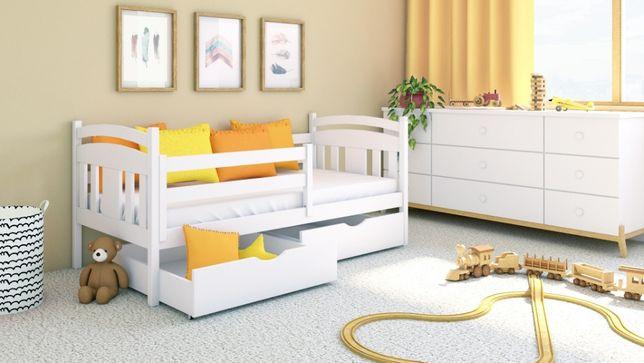 Łóżko dla dziecka + szuflady + barierka + udźwig 150kg