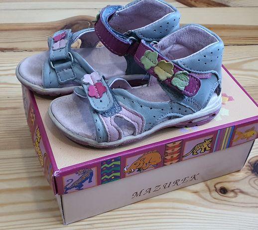 Skórzane sandałki dla dziewczynki rozmiar 21 wkładka 13,5cm Mazurek