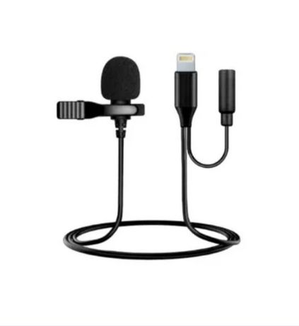 Петличный микрофон Lightning + разъем mini jack 3.5 мм под айфон