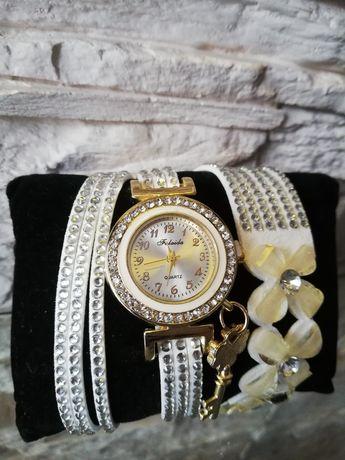 Zegarek damski z bransoletką, biały, miedziany