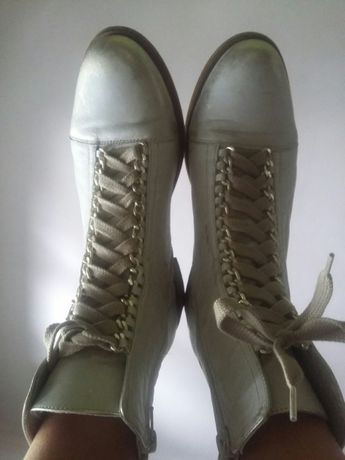 Skórzane buty przecieramy złoto roz 41