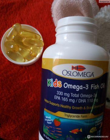 Oslomega, норвезька Омега 3 для дітей з клубнічним смаком,60 капсул