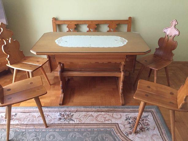 Komplet drewnianych (jesion) mebli stylizowanych