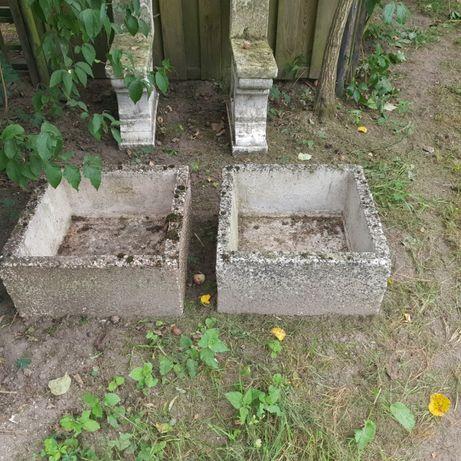 kwietnik betonowy duży 52 xz 52 cm komplet PRL