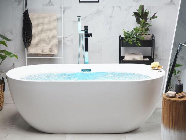 Banheira de hidromassagem autónoma com LED 170 cm em branco NEVIS - Beliani