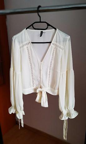 Bluzka mgiełka falbanki H&M 40 L bez wad haft beż wiązana