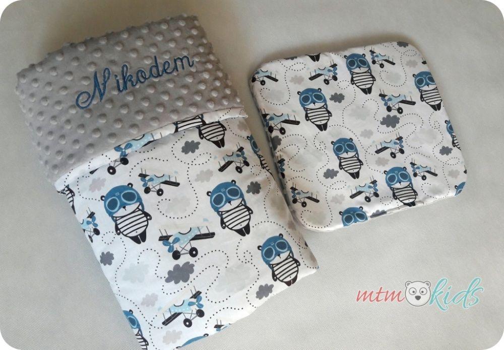 Pościel MISIE PILOTKI koc minky velvet komplet do wózka łóżeczka Mieszkowice - image 1