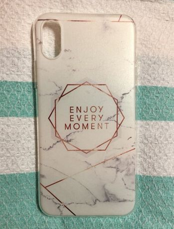 iPhone X Capa Silicone Mármore - Enjoy Every Moment