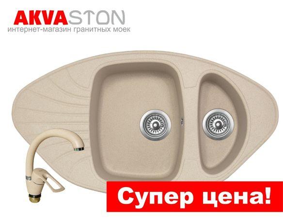 АКЦИЯ! Угловая гранитная мойка Carina для кухни, смеситель и сифон