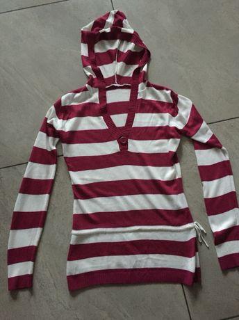 Sweter w pasy czerwony bordo biały ecru kaptur S