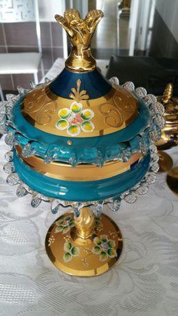 Copa cristal murano pintura oro anos 60