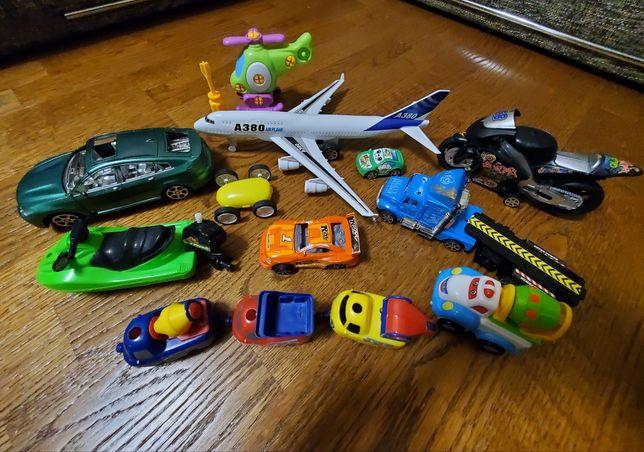 Игрушки инерционные машины, мотоцикл, самолет, вертолет, бетономешалка
