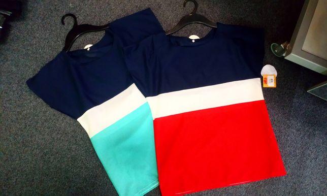 Śliczne trzykolorowe bluzki dwa wzory damskie S M nowe WYPRZEDAŻ HIT