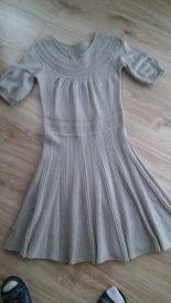 Szara sukienka ze srebrną nitką