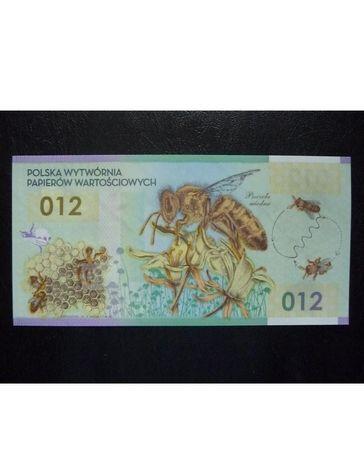 Polski banknot polimerowy Pszczoła miodna 012 numeracja JK000000