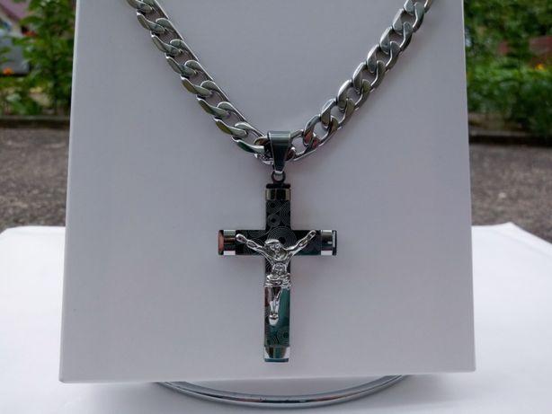 Srebrny łańcuszek z krzyżykiem,stainless steel,pancerka,polerowany,yes