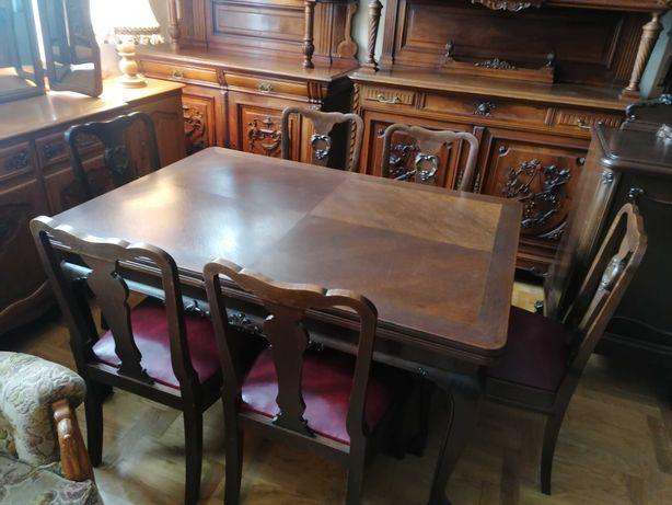 jadalnia chippendale komoda witryna stół 6 krzeseł