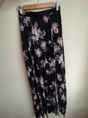 Spódnica maxi długa z rozporkami czarna w kwiaty ptaki m 38 forever 21