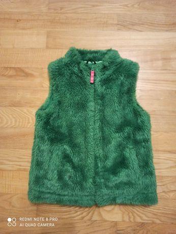 Kamizelka futrzak w pięknym, zielonym kolorze rozm. 122