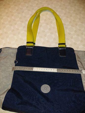 Mala Kipling azul cinza limão