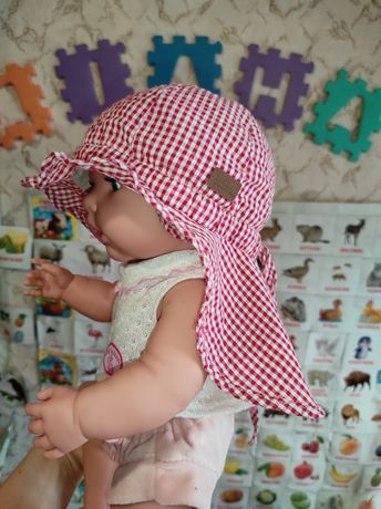 Летняя лёгкая панамка,шапочка для девочки от 6м. до 1года.