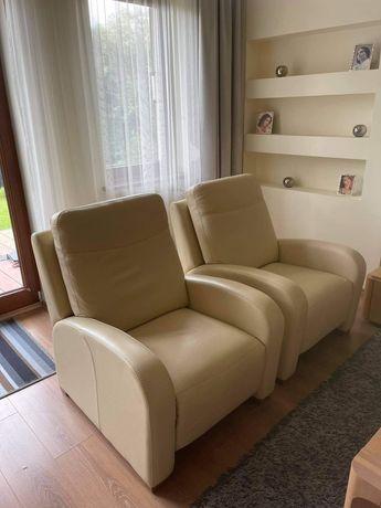 Skórzana gustowna kanapa 3-osobowa z fotelami kler