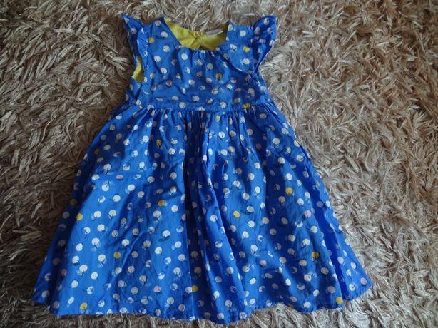 Śliczna niebieska sukienka owoce r.86-92