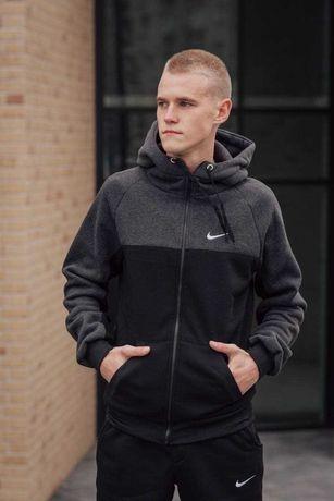 Теплый спортивный костюм на флисе худи и штаны Nike S M L XL