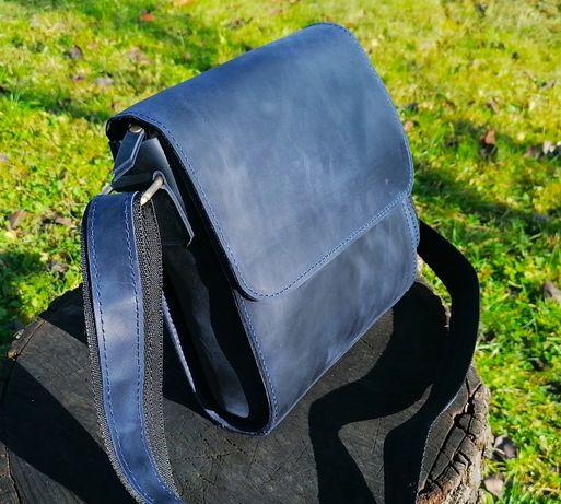 Мужская кожаная сумка планшет через плечо натуральна шкіра crazy horse