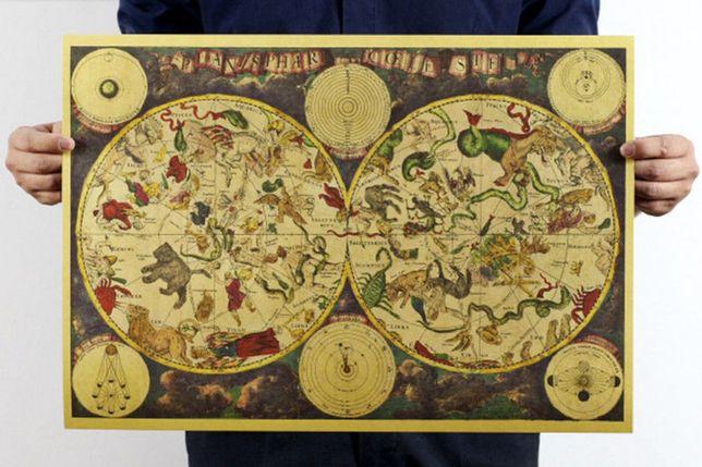 Mapa vintage constelações e horóscopo, 36x52 cm