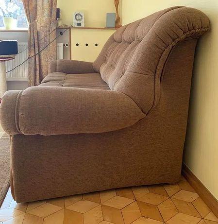 Sofa rozkładana z dębowym wykońceniem
