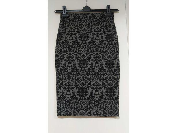 Żakardowa elastyczna spódnica ołówkowa Orsay czarno-szara rozmiar XS