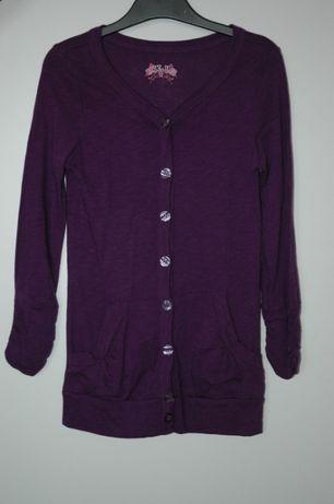 Tchibo rozpinana fioletowa bluza sweterek narzutka r.122-128