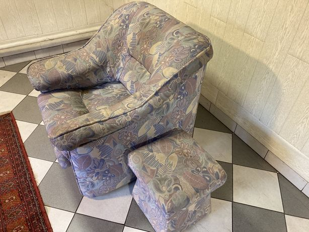 Fotel z podnóżkiem solidny produkcja lata 90te