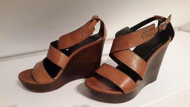 Sandały damskie skóra braz z firmy Wojas