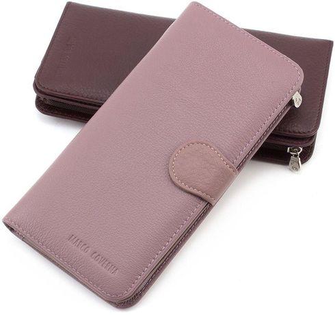 Оригинальный женский кожаный кошелек пудрового цвета Marco Coverna