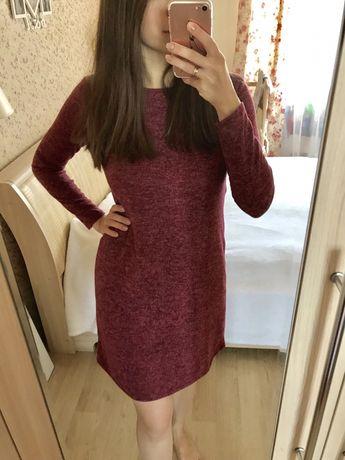 Меланжевое платье с длинным рукавом