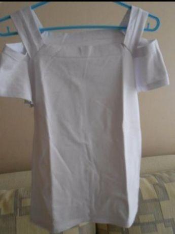Bluzka damska koszulka top biała odkryte wycięte ramiona krótki rękaw