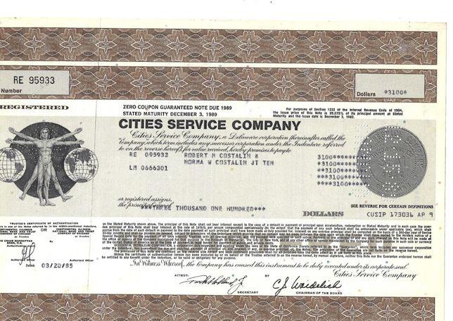 Bonds Shares Ações Cities Service Company CITGO 1985 USA