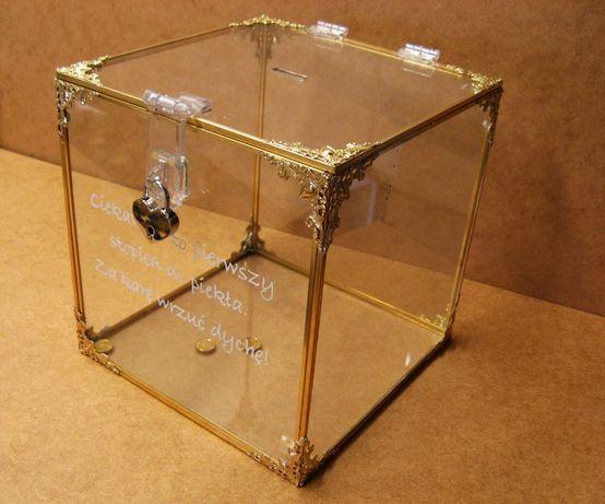 Skarbona weselna na koperty, skarbonka duża, pudełko szklane PROMOCJA!