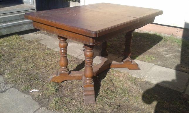 Stary Masywny Ciężki Drewniany Gruby Blat Prostokątny Rozkładany Stół