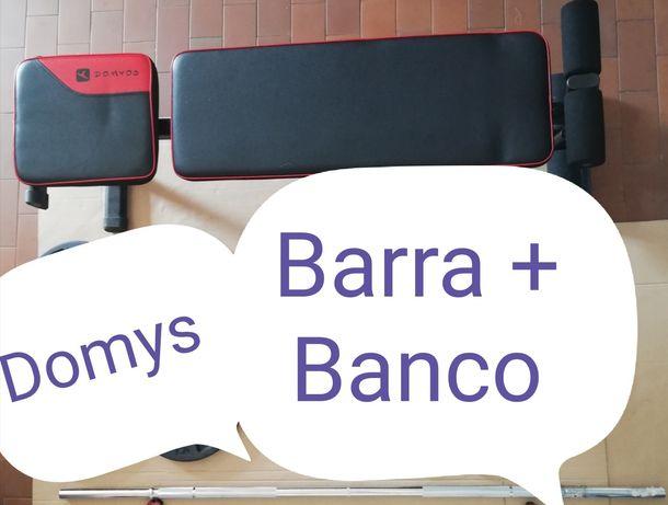 Material Musculação DOMYOS (Barra + Banco)