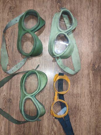 Stare gogle wojskowe PRL i okulary ochronne
