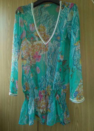 Туника, L размер, шифон, пайетки, блуза,  BELLA RAGAZZA, Италия