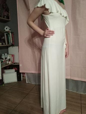 Sukienka kremowa z falbanką